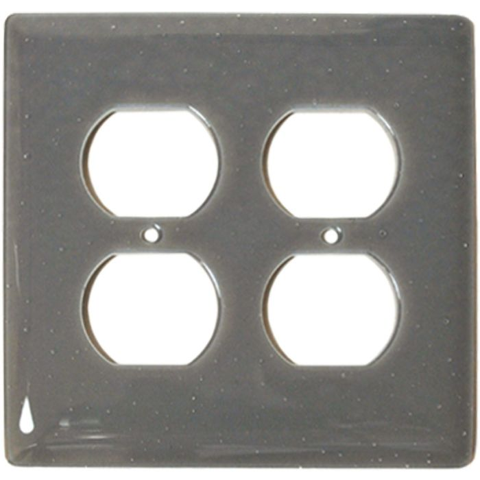 Deco Gray Glass 2 Gang Duplex Outlet Wall Plate Cover