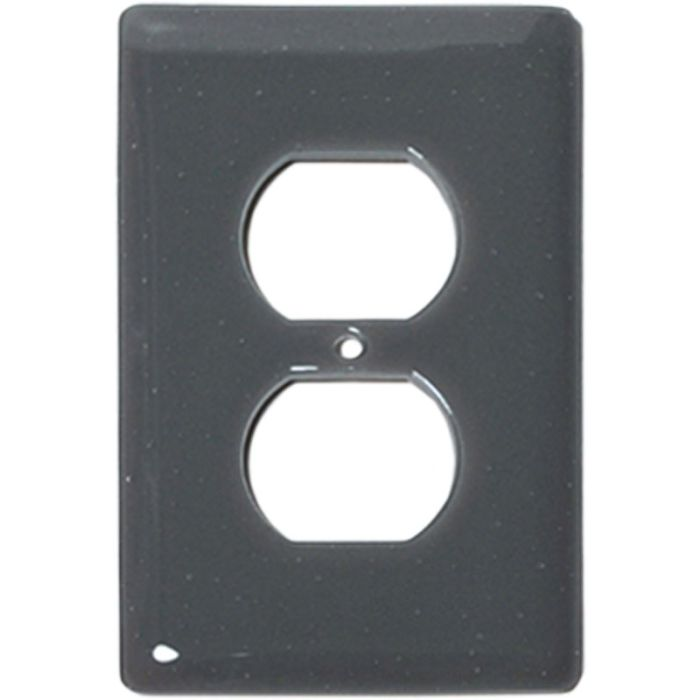 Deco Gray Glass 1 Gang Duplex Outlet Cover Wall Plate