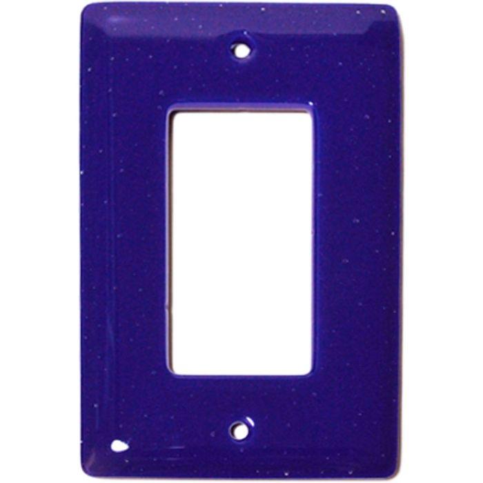 Deep Cobalt Blue Glass Single 1 Gang GFCI Rocker Decora Switch Plate Cover