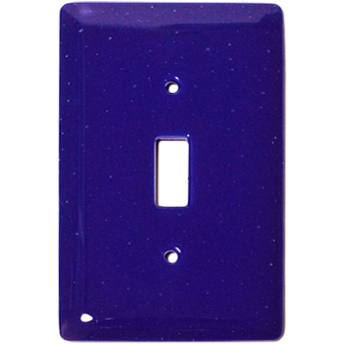 Deep Cobalt Blue Glass Single 1 Toggle Light Switch Plates