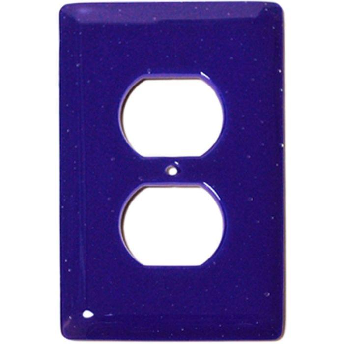 Deep Cobalt Blue Glass 1 Gang Duplex Outlet Cover Wall Plate