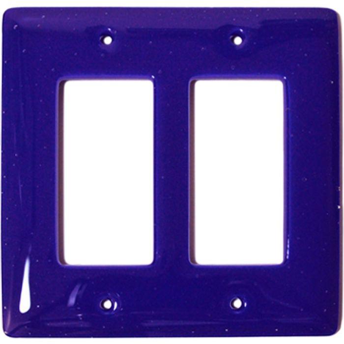 Deep Cobalt Blue Glass 2 Gang Double GFCI Rocker Decorator Wallplates