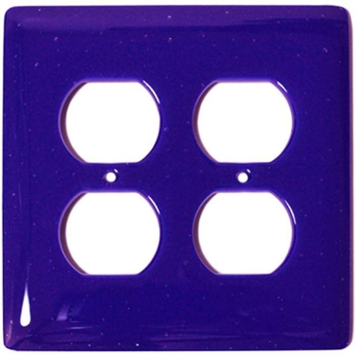 Deep Cobalt Blue Glass 2 Gang Duplex Outlet Wall Plate Cover