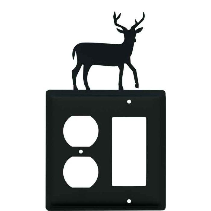 Deer 1-Duplex / 1 Decorator Rocker - Combination Switch Cover