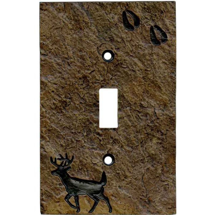 Deer with Tracks Single 1 Toggle Light Switch Plates
