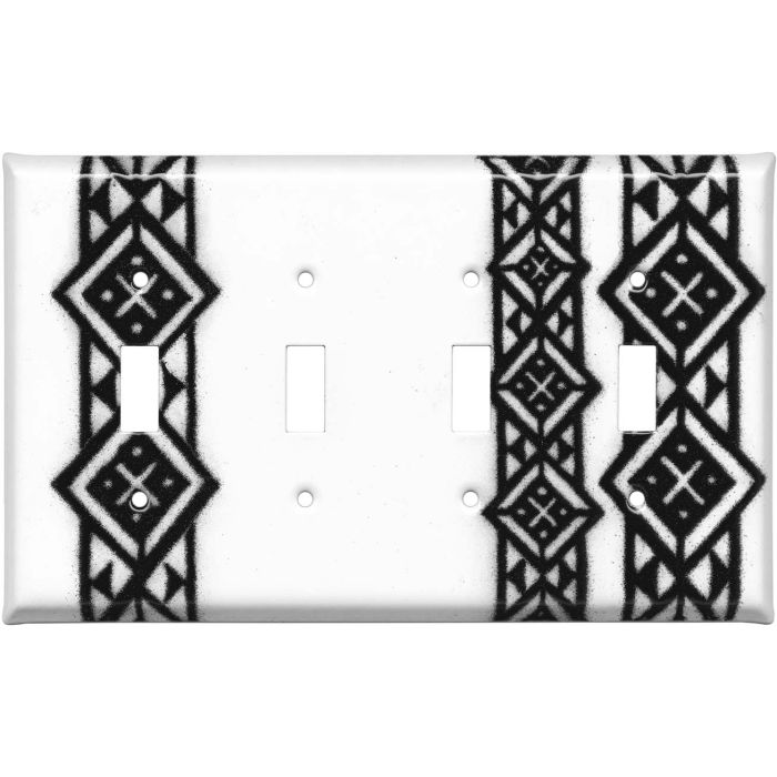 Diamond Abstract Quad 4 Toggle Light Switch Covers