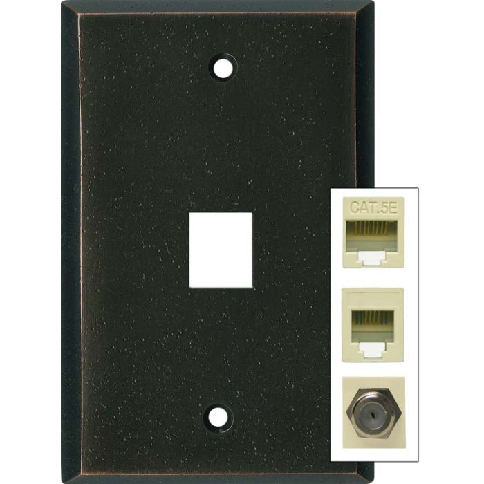 Distressed Antique Bronze 1 Port Modular Wall Plates for Phone, Data, Phone
