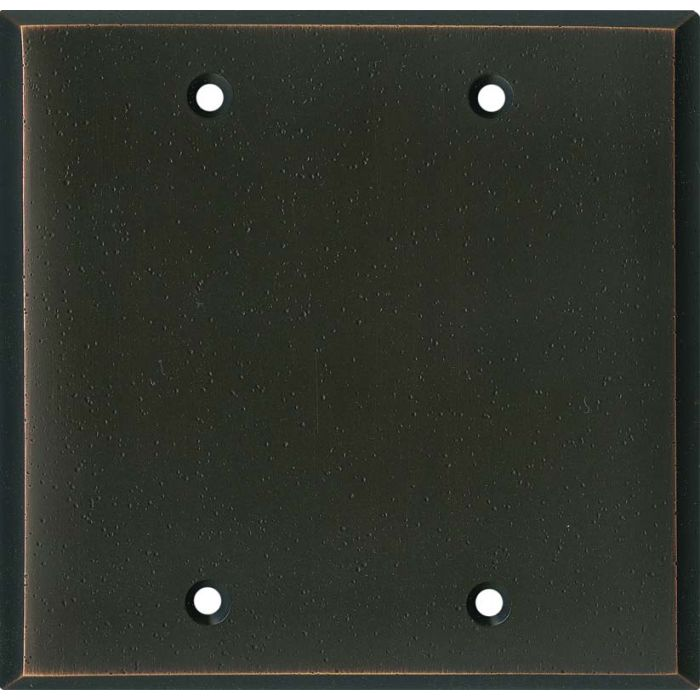 Distressed Antique Bronze Double Blank Wallplate Covers