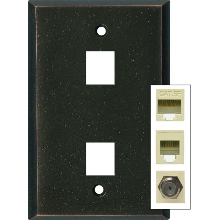 Distressed Antique Bronze Double Port Modular Wall Plates for Data, Phone, Cable