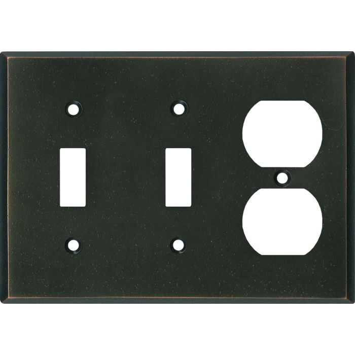 Distressed Antique Bronze Double 2 Toggle / Outlet Combination Wall Plates