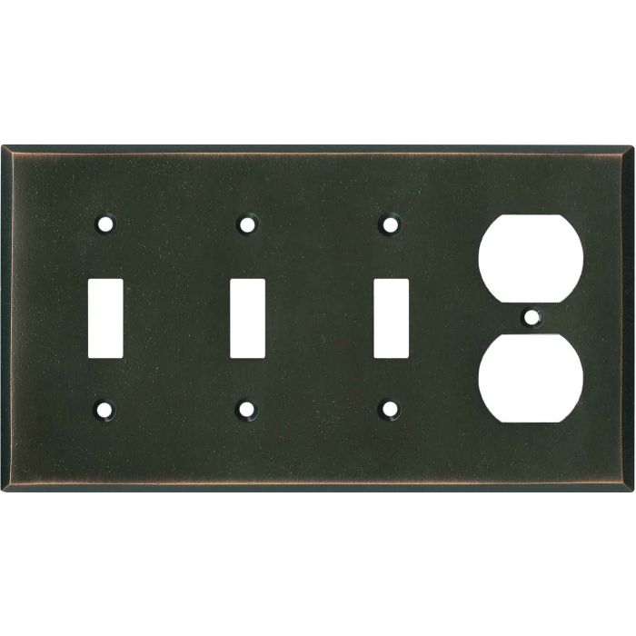 Distressed Antique Bronze Combination Triple 3 Toggle / Outlet Wall Plate Covers