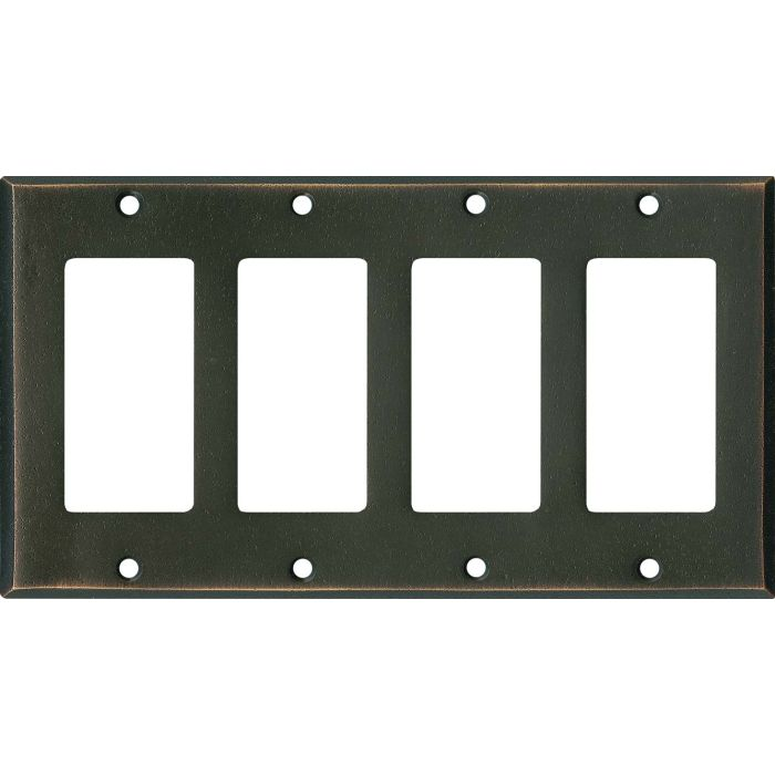 Distressed Antique Bronze - 4 Rocker GFCI Decora Switch Plates