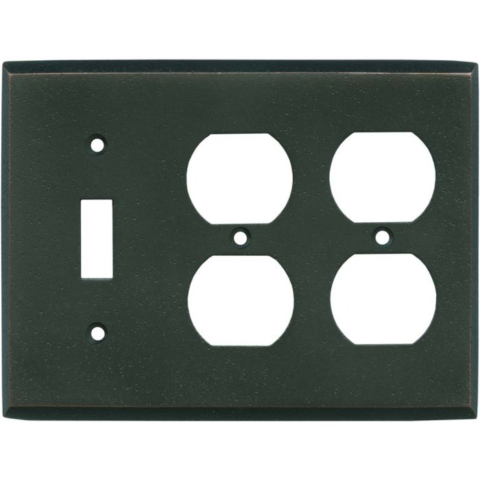Distressed Antique Bronze Combintion Single 1 Toggle / Double 2 Outlet Wall Plates