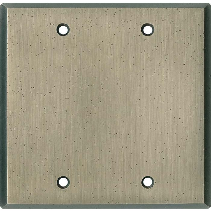 Distressed Antique Pewter Double Blank Wallplate Covers