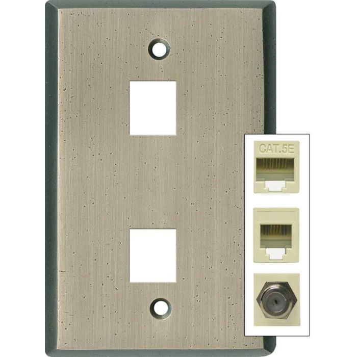 Distressed Antique Pewter Double Port Modular Wall Plates for Data, Phone, Cable