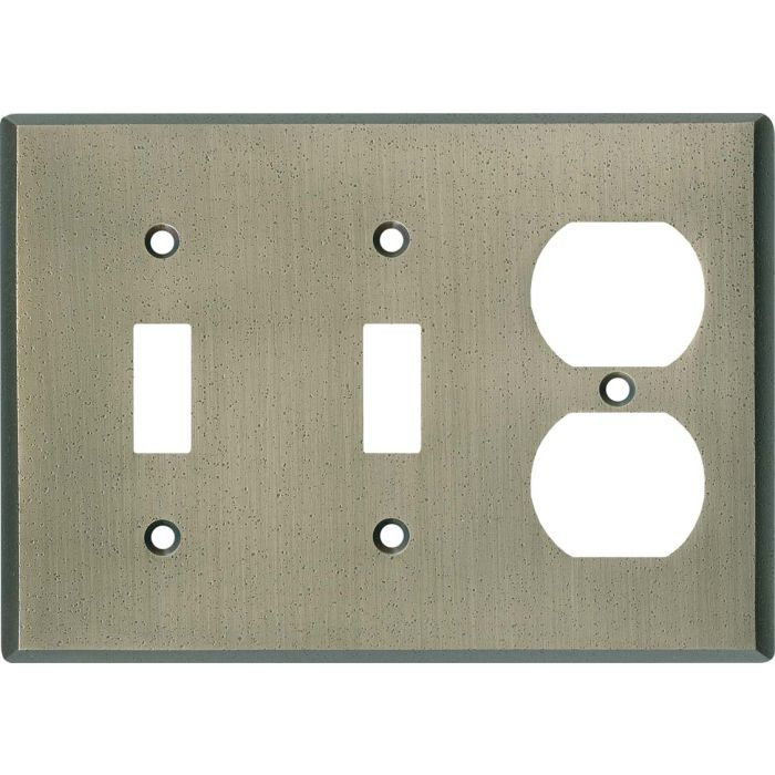 Distressed Antique Pewter Double 2 Toggle / Outlet Combination Wall Plates