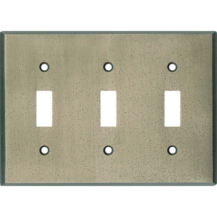 Distressed Antique Pewter Triple 3 Toggle Light Switch Covers