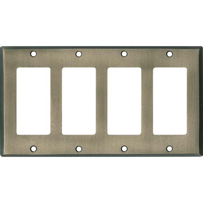 Distressed Antique Pewter 4 Rocker GFCI Decorator Switch Plates