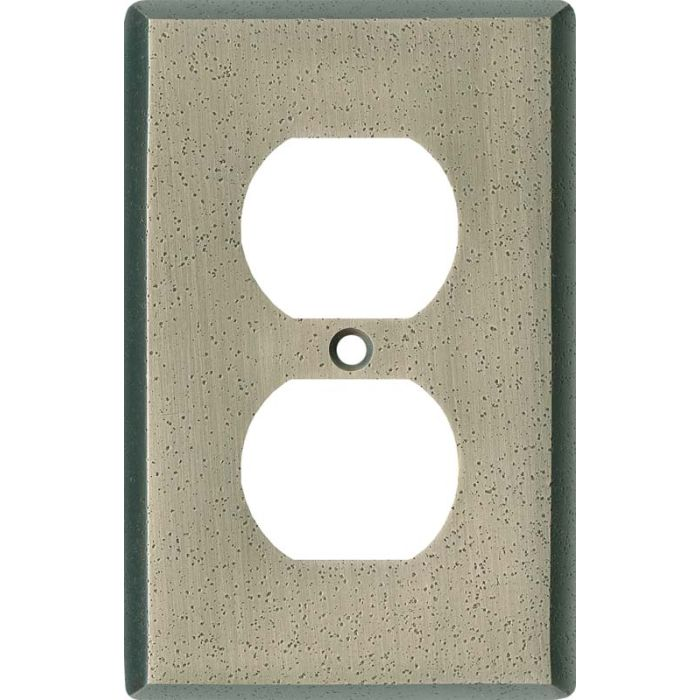 Distressed Antique Pewter 1 Gang Duplex Outlet Cover Wall Plate