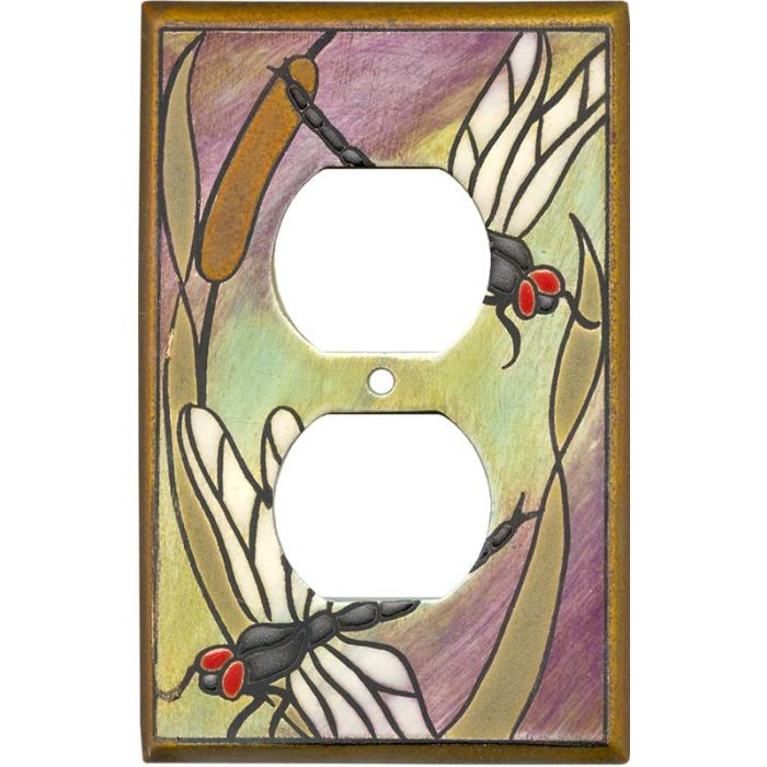 Dragonfly Bulrush Ceramic 1 Gang Duplex Outlet Cover Wall Plate