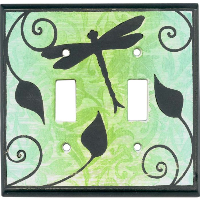 Dragonfly Silhouette Ceramic Double 2 Toggle Switch Plate Covers