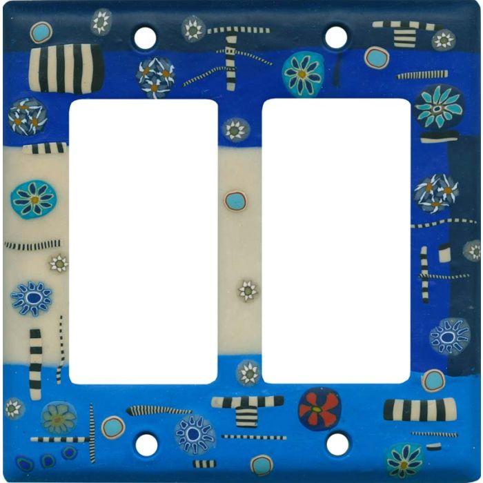 Dreamweaver Blue 2 Gang Double GFCI Rocker Decorator Wallplates