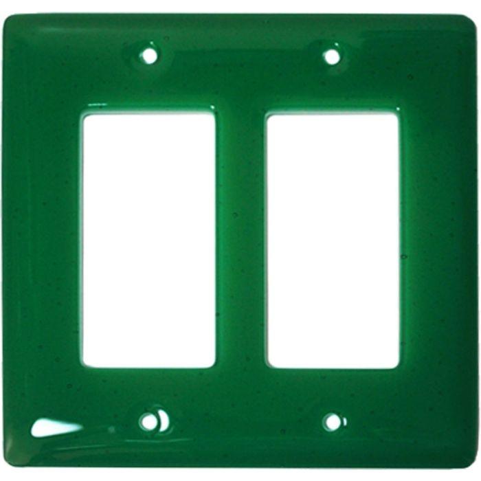 Emerald Green Glass 2 Gang Double GFCI Rocker Decorator Wallplates