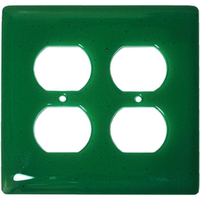Emerald Green Glass 2 Gang Duplex Outlet Wall Plate Cover