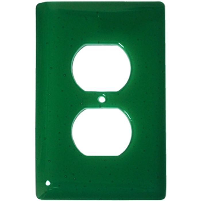 Emerald Green Glass 1 Gang Duplex Outlet Cover Wall Plate