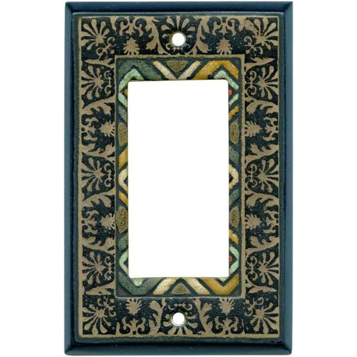 Ethnic Quilt Ceramic 1-Gang GFCI Decorator Rocker Switch Plate Cover
