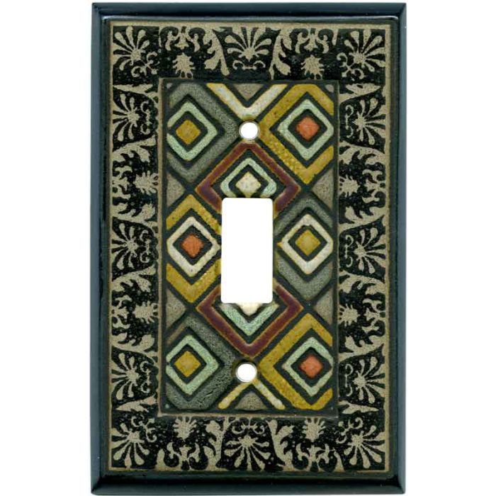 Ethnic Quilt Ceramic 1 Toggle Light Switch Cover