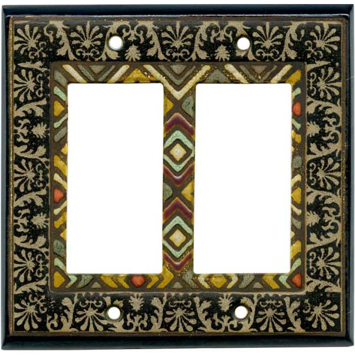 Ethnic Quilt Ceramic 2-Gang Decorator / GFCI Rocker Wall Plate Cover