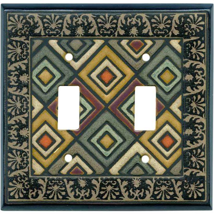 Ethnic Quilt Ceramic 2 Toggle Switch Plates