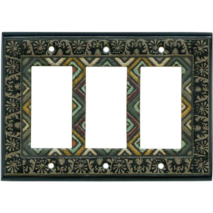 Ethnic Quilt Ceramic 3 - Rocker / GFCI Decora Switch Plate Cover