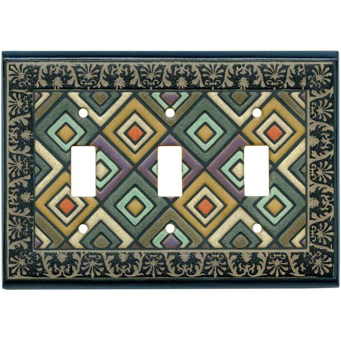 Ethnic Quilt Ceramic 3 - Toggle Switch Plates