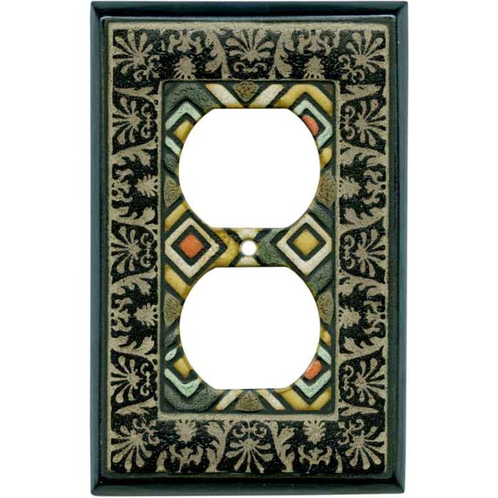 Ethnic Quilt Ceramic 1 - Gang Duplex Outlet Cover Wall Plate