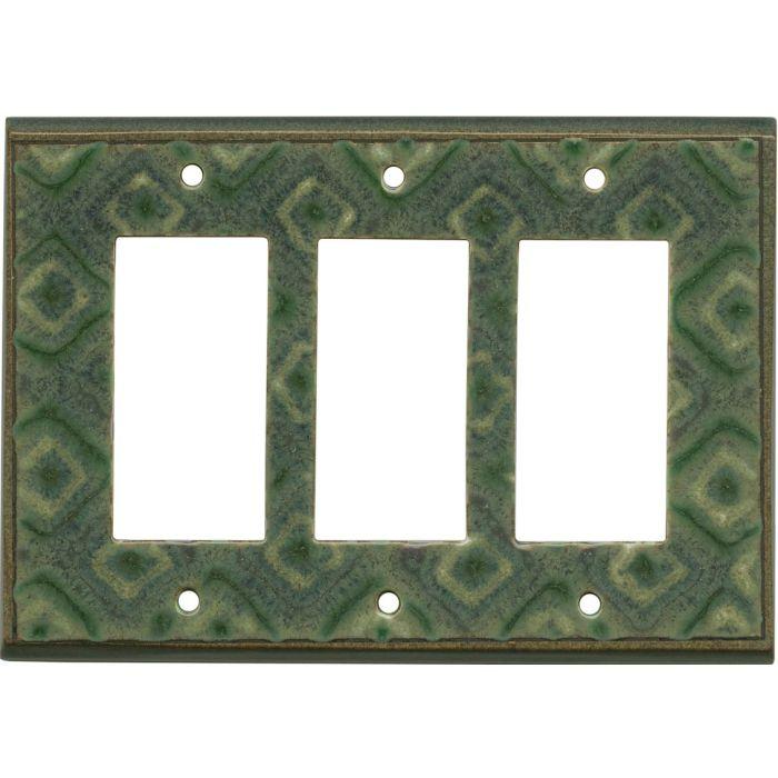 Fair Isle Ceramic Triple 3 Rocker GFCI Decora Light Switch Covers