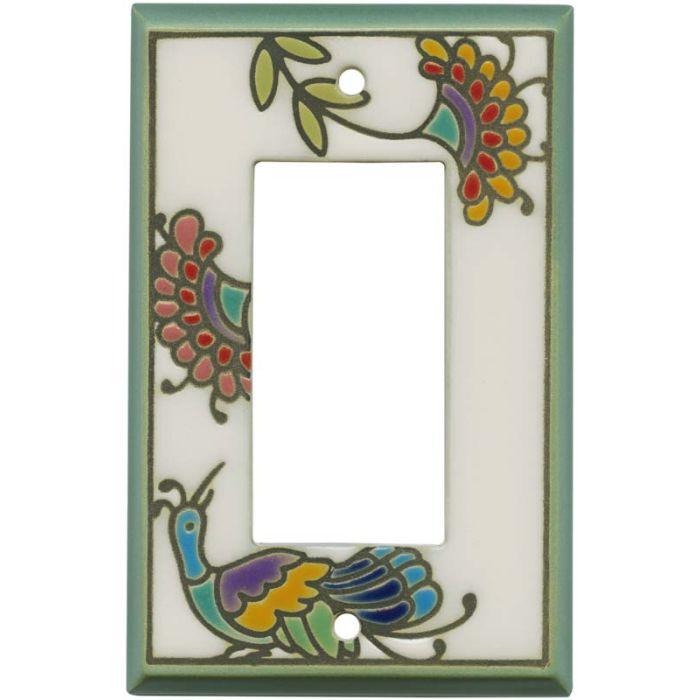 Fantasy Bird White Ceramic Single 1 Gang GFCI Rocker Decora Switch Plate Cover