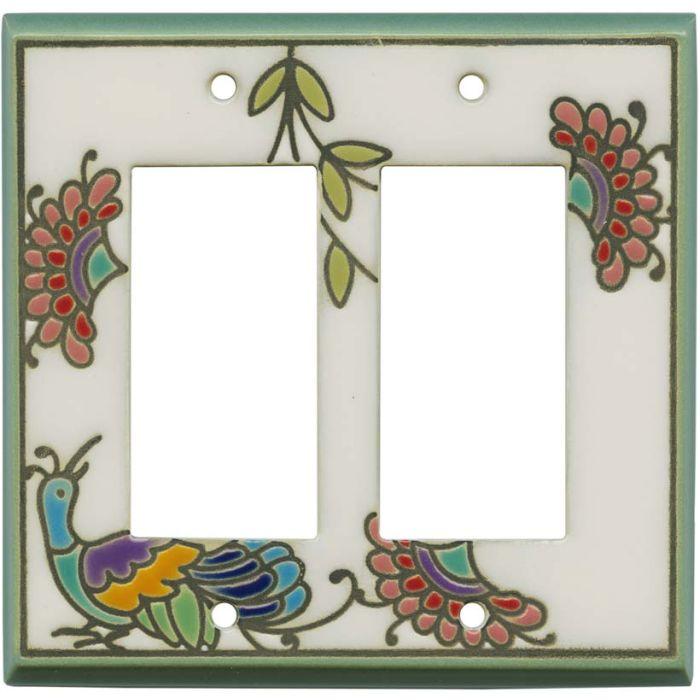 Fantasy Bird White Ceramic 2 Gang Double GFCI Rocker Decorator Wallplates