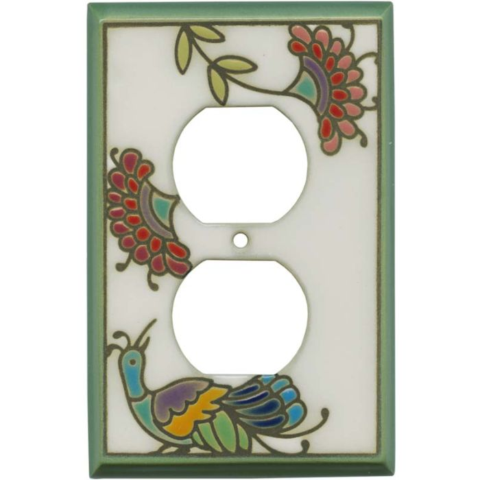 Fantasy Bird White Ceramic 1 Gang Duplex Outlet Cover Wall Plate