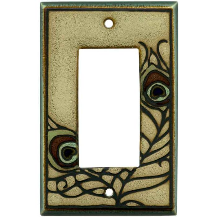 Feathers Ceramic Single 1 Gang GFCI Rocker Decora Switch Plate Cover