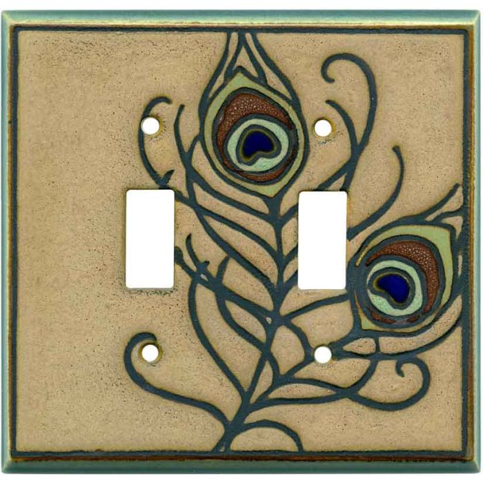 Feathers Ceramic Double 2 Toggle Switch Plate Covers