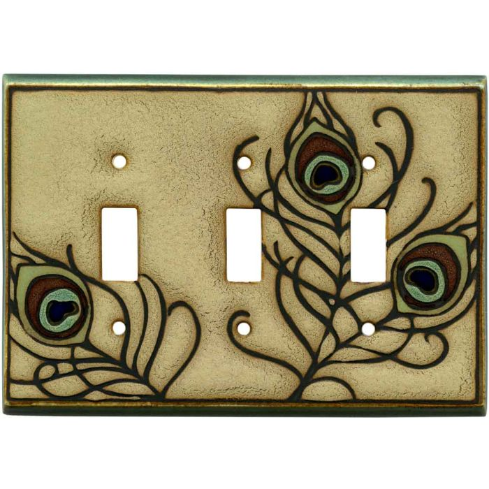 Feathers Ceramic Triple 3 Toggle Light Switch Covers