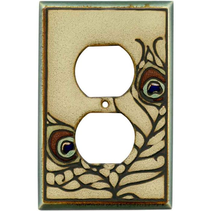 Feathers Ceramic 1 Gang Duplex Outlet Cover Wall Plate