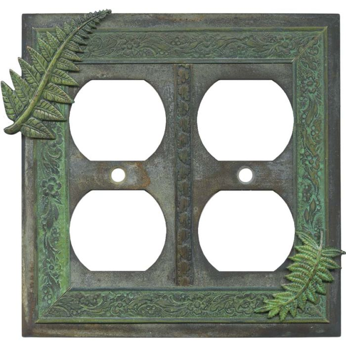 Fern 2 Gang Duplex Outlet Wall Plate Cover