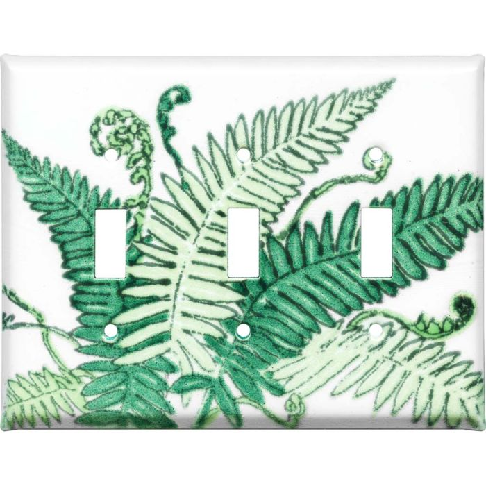Ferns Triple 3 Toggle Light Switch Covers