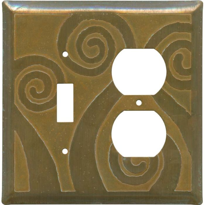 Fiddlehead Tarnished Copper Combination 1 Toggle / Outlet Cover Plates