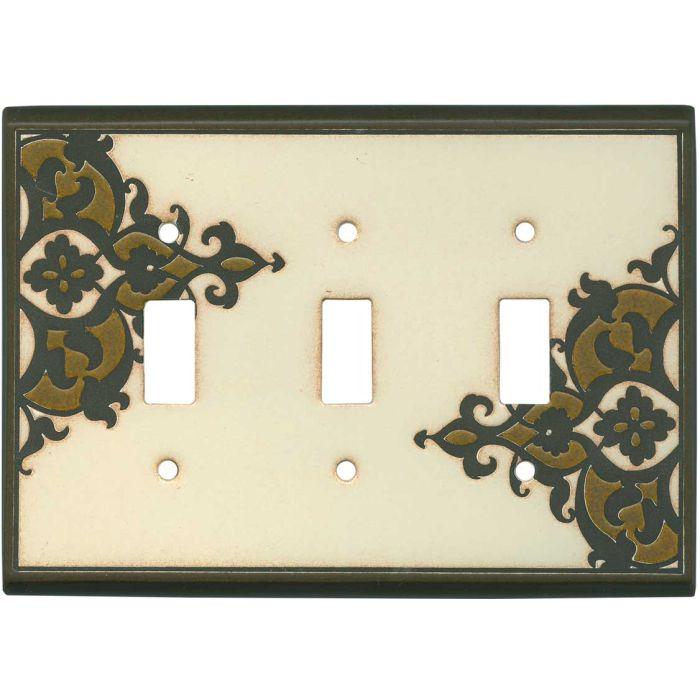 Finials Cream Ceramic Triple 3 Toggle Light Switch Covers