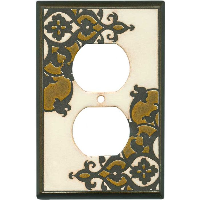 Finials Cream Ceramic 1 Gang Duplex Outlet Cover Wall Plate