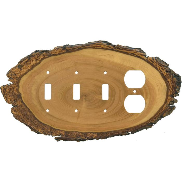 Fir Slice Combination Triple 3 Toggle / Outlet Wall Plate Covers
